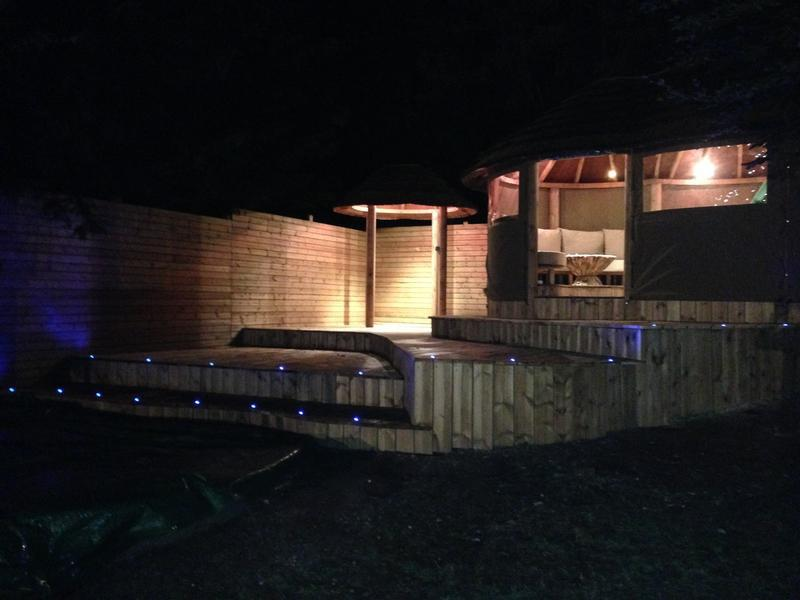 Image 5 - Stepped decking, surrounding fencing and lighting.