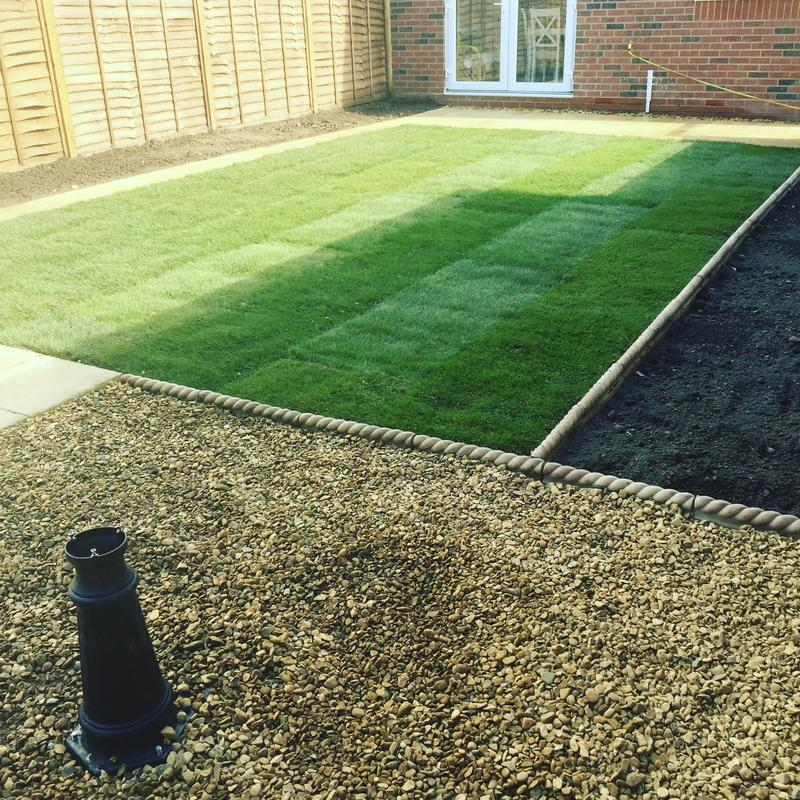 Image 68 - New build garden design with patio , turf and soil bed areas