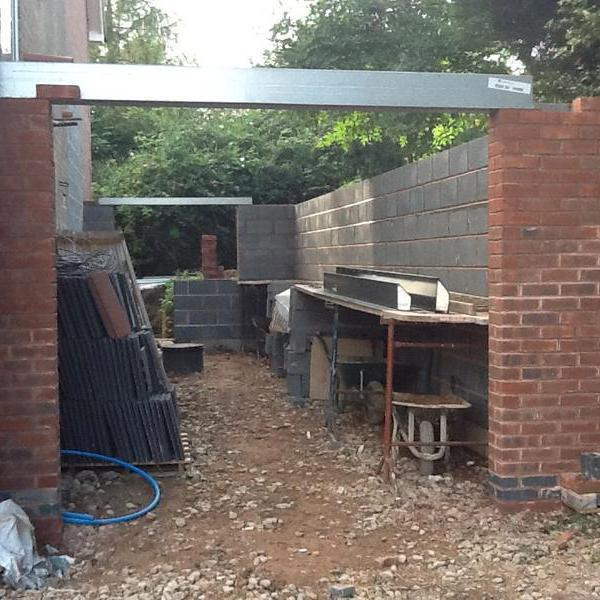 Image 29 - Garage underway, being built by Dave and Phil Sept 2012