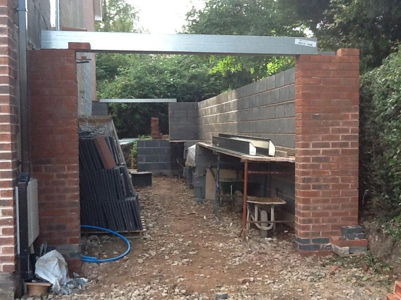 Image 44 - Garage underway, being built by Dave and Phil Sept 2012