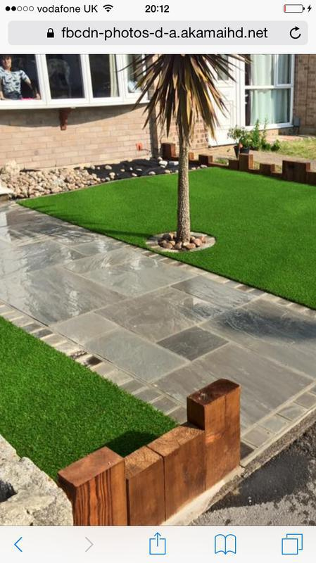 Image 26 - Indian Sandstone Path with Artificial Grass