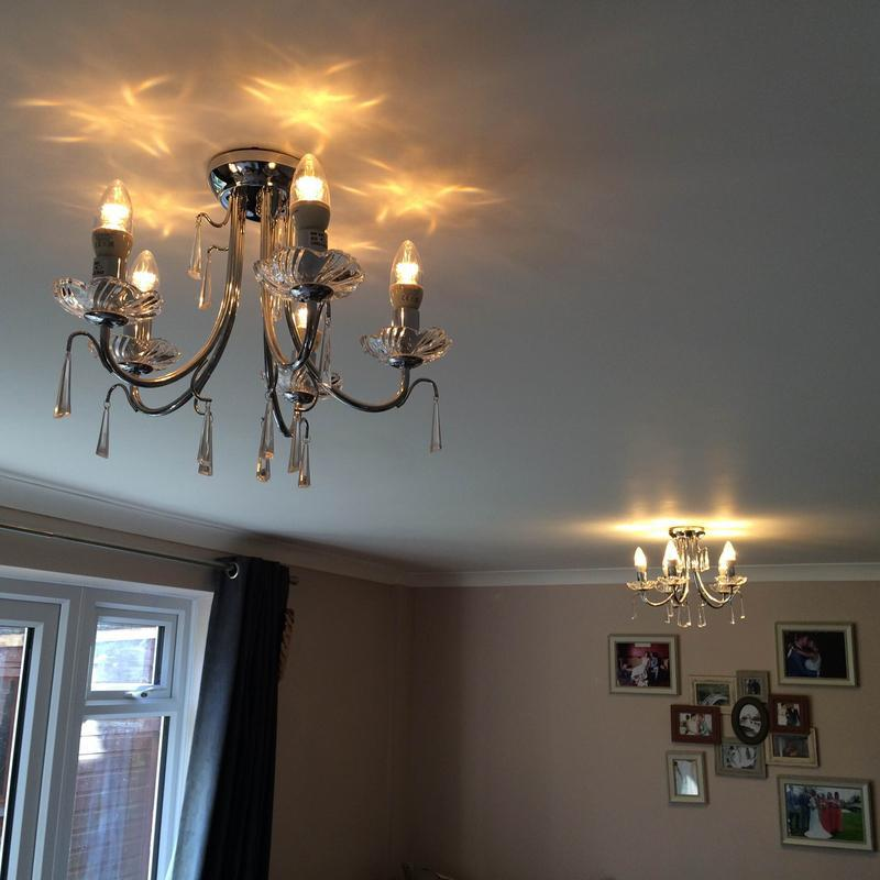Image 16 - New Chandelier style Lights to replace old lighting in lounge with new dimmer switch and LED lamps fitted