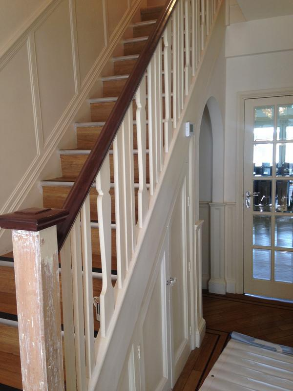 Image 74 - Balustrades removed a replaced with oak and newel posts stripped back and all varnished to match existing flooring