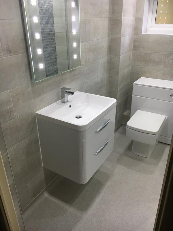 Image 21 - Wet Room With Wall Hung Drawer Unit & Basin, Concealed Cistern Toilet and LED De Mister Mirror