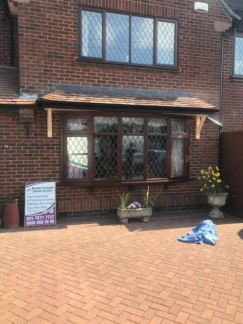 Image 133 - New installed front bay roof covering. Completed March 2019. Styvechale.