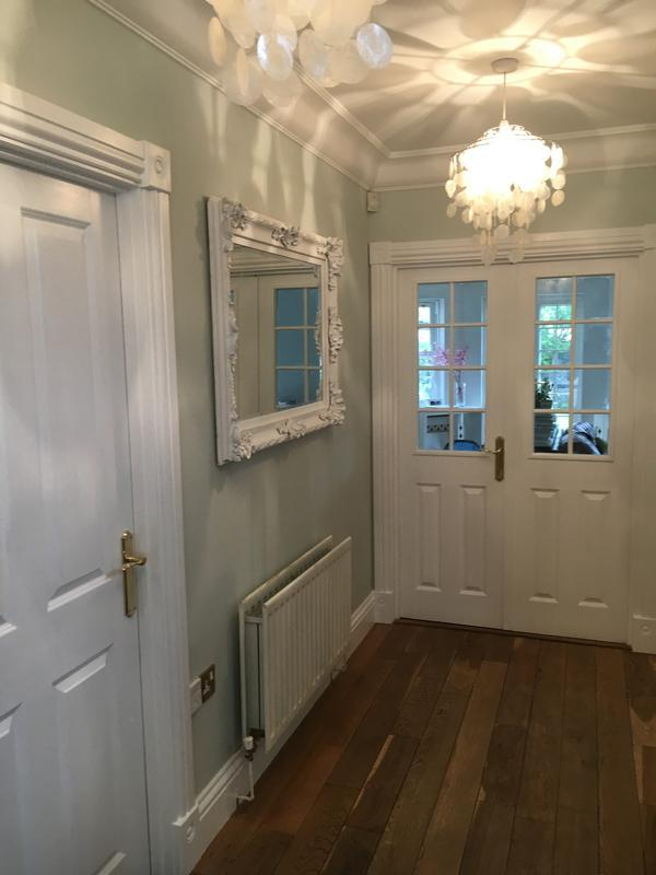 Image 19 - Woodwork painted in Dulux water-based Satinwood. Farrow & Ball Powder Green emulsion - (Modern), on the walls. Ceiling painted with Dulux Magic White.
