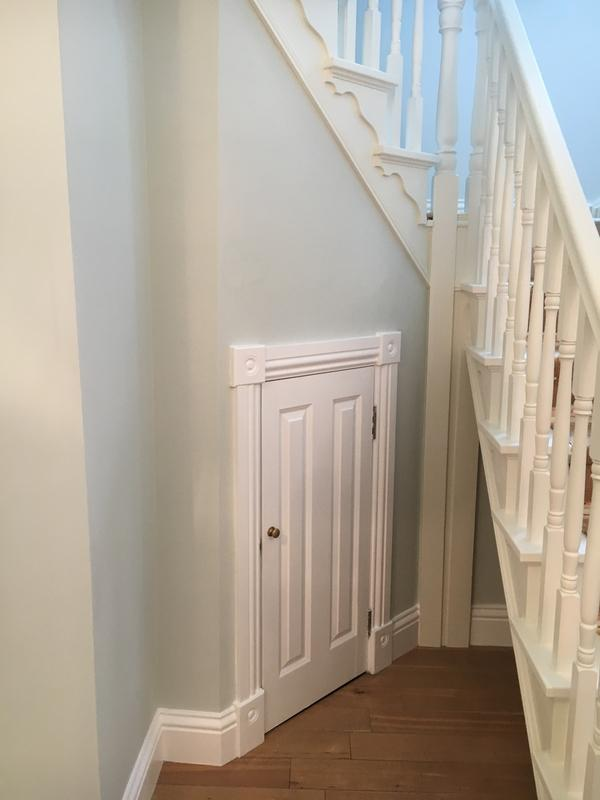 Image 6 - Woodwork on the skirting boards and cupboard painted in a Dulux water-based satinwood. Woodwork on the banisters and spindles painted in a Farrow & Ball (James White 2005) water-based eggshell. Farrow & Ball powder green emulsion (Estate) on the walls.