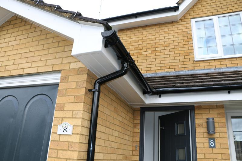 Image 60 - All New White UPVC Fascias Soffits and Black UPVC Guttering and Downpipes Fitted to the entire House