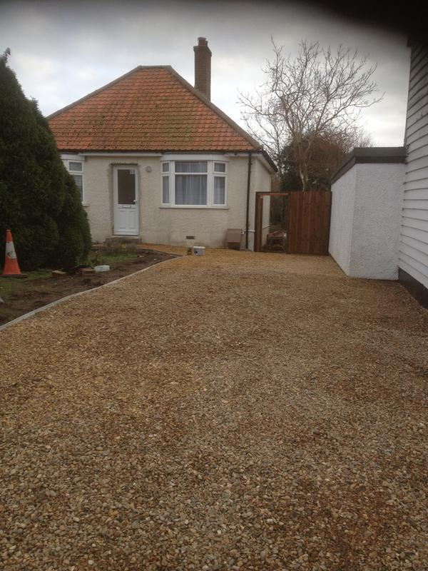 Image 104 - Gravel driveway dug out,weed barrier, mot stone and then gravelled
