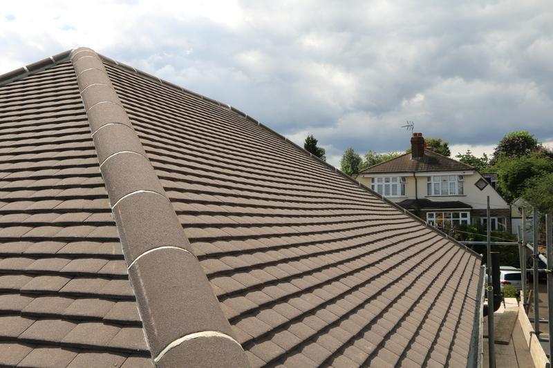 Image 67 - Complete New Concrete Sand Face Brown Plain Tile Roof Fitted on a Property inTheydon Bois