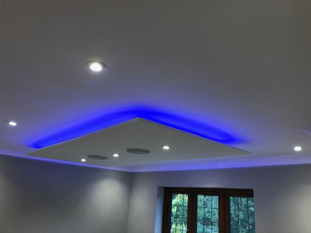 Image 4 - Bespoke ceiling rafts with LED colour changing lights and Sonos speakers