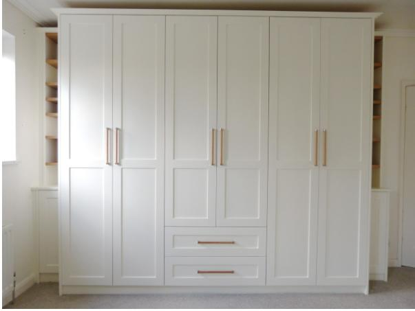 Image 34 - Bespoke Robes , hand painted . With integrated oak shelving.