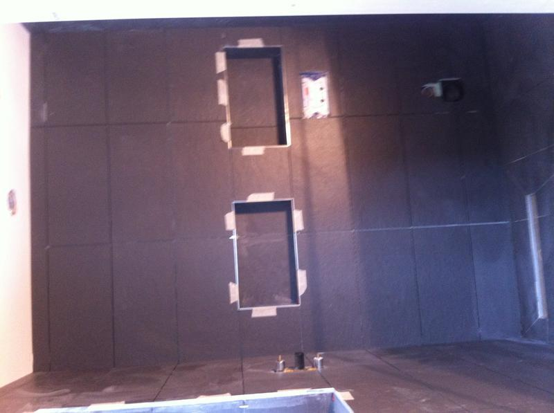 Image 80 - Walking shower room, boarded, skimmed and tilling
