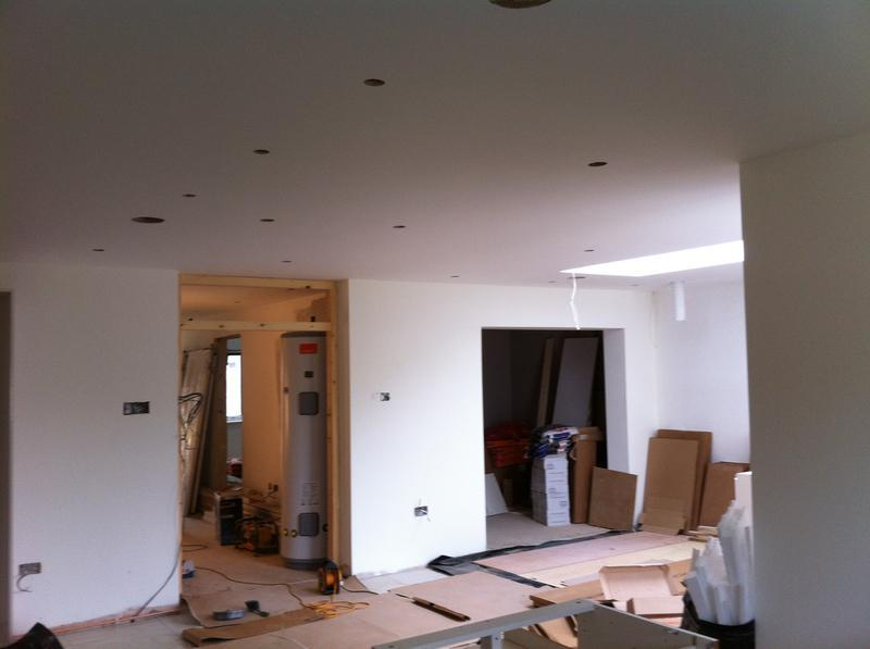 Image 78 - Open plan kitchen extension  plasterboarded and skimmed