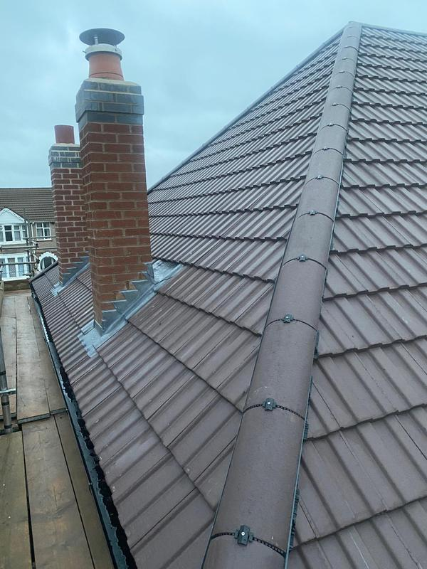 Image 26 - Main roof and re-built chimneys, completed December, Coundon.