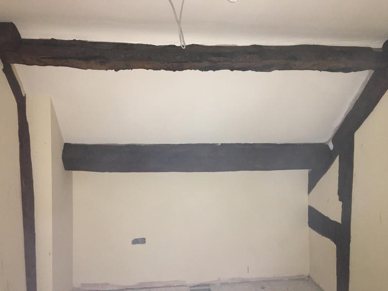 Image 63 - Landing refurbishment keeping oak beams showing