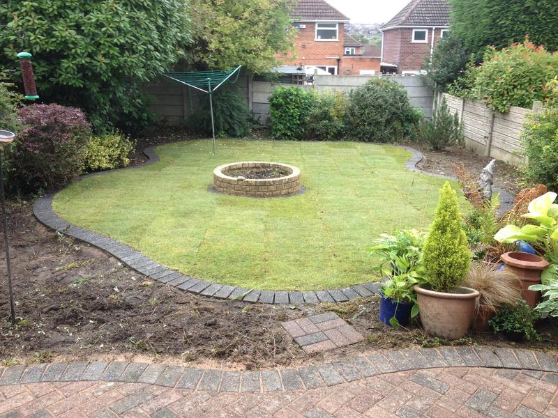 Image 81 - New shape lawn with block paving edge