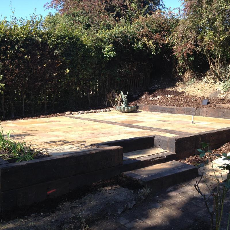 Image 37 - New sandstone with reclaimed sleepers for boarders