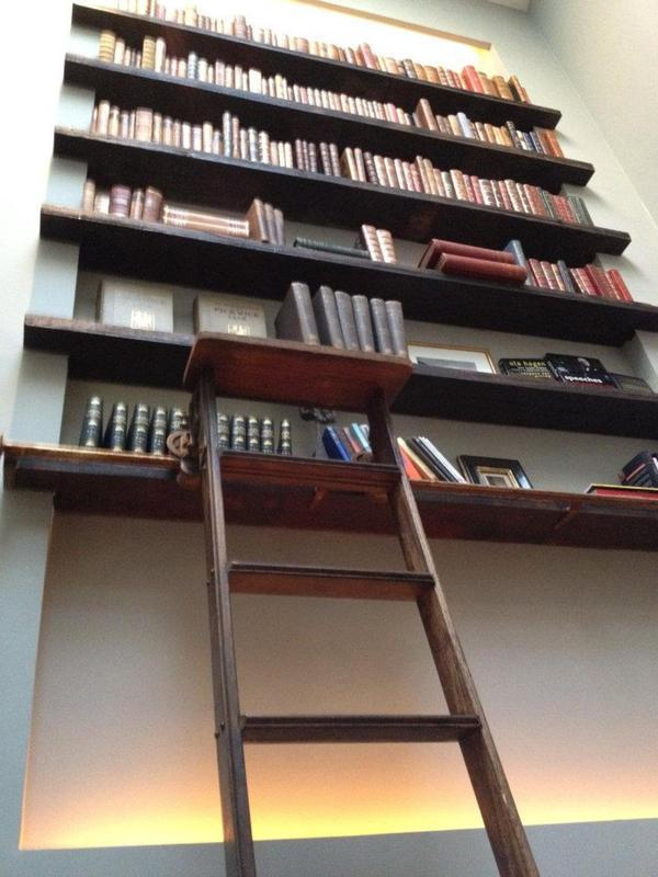Image 53 - Hand built bookcase and library ladder using reclaimed railway oak