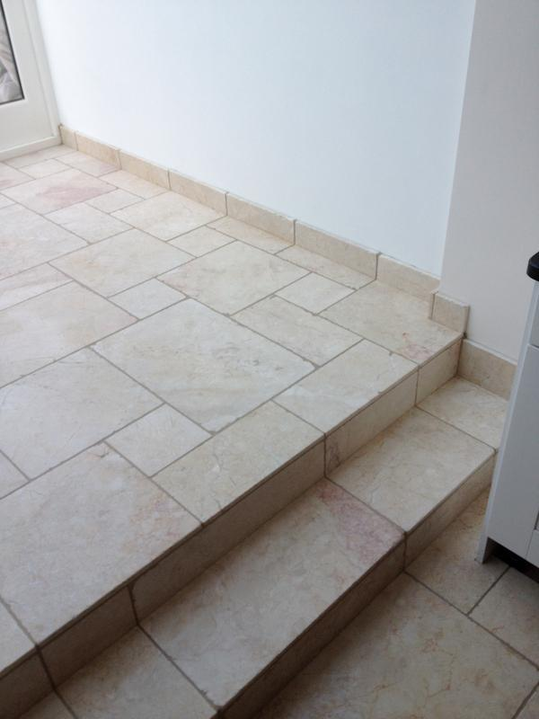 Image 96 - Multi size Travertine Floor Opus Pattern with Underfloor Heating and Steps
