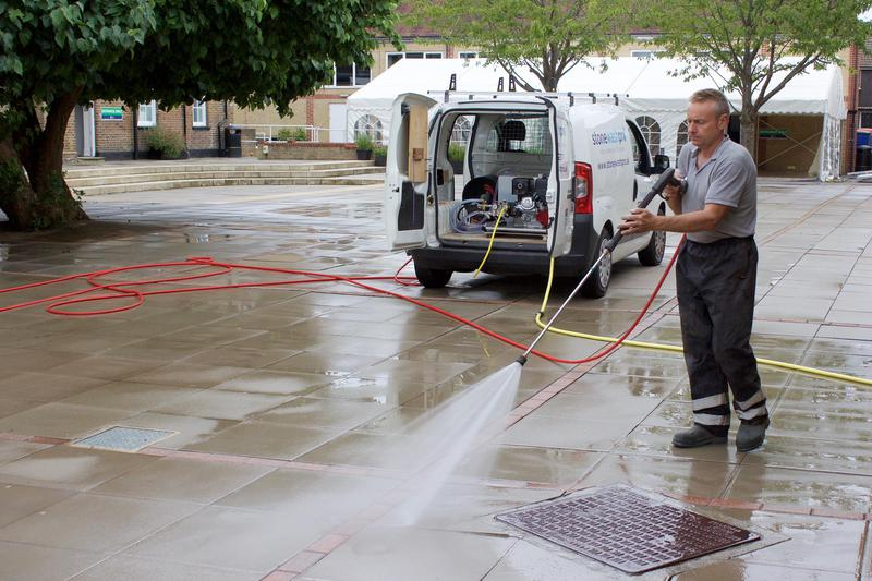 Image 1 - Myself, Tony, cleaning the courtyard at Halliford Boys School.