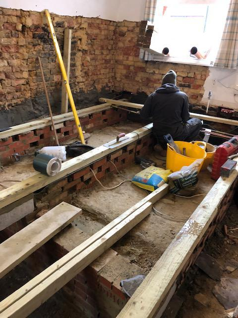 Image 20 - Dry Rot Treatment: building new honey combed sleeper walls and fitting wall plates