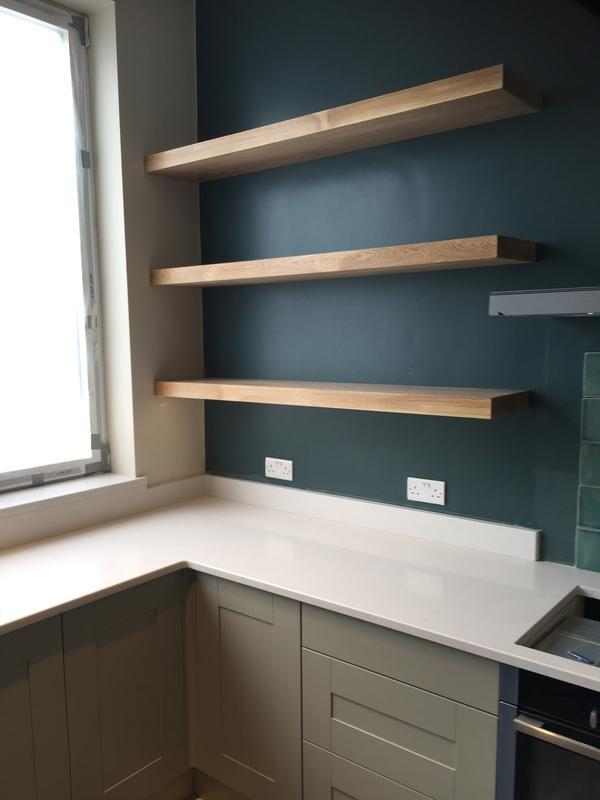 "Image 9 - Bespoke ""Free Floating"" oak shelves in clients fitted kitchen"