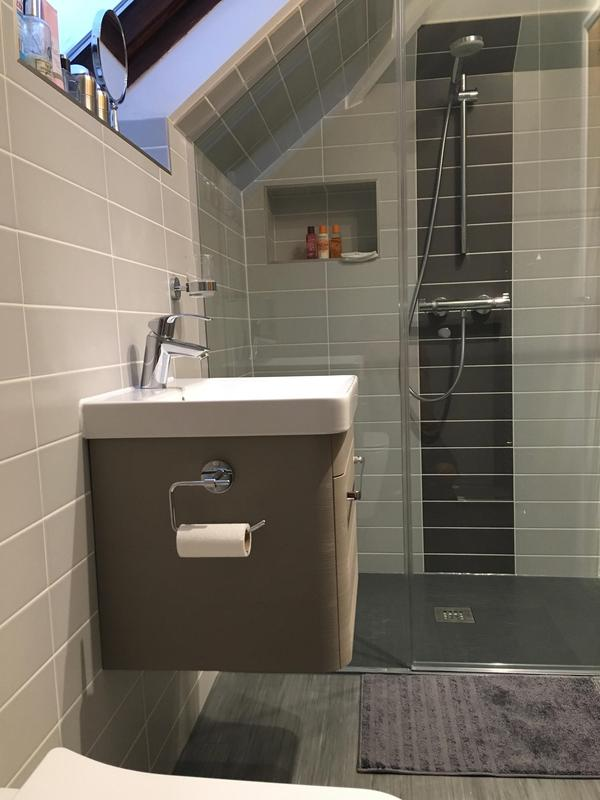 Image 125 - En-Suite shower room with bespoke shower door and  Wall hung toilet and basin Hornchurch RM113NZ