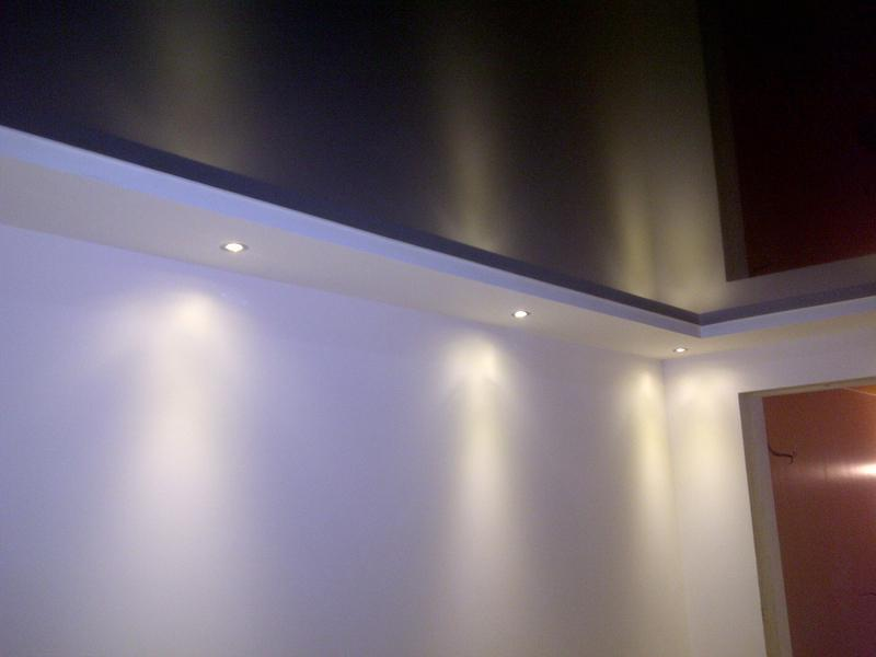 Image 42 - domestic lounge with black gloss stretch ceiling and perimeter spot lights