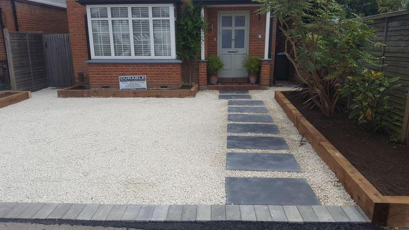 Image 5 - decorative stones drives with paving Edge and sleeper flower borders
