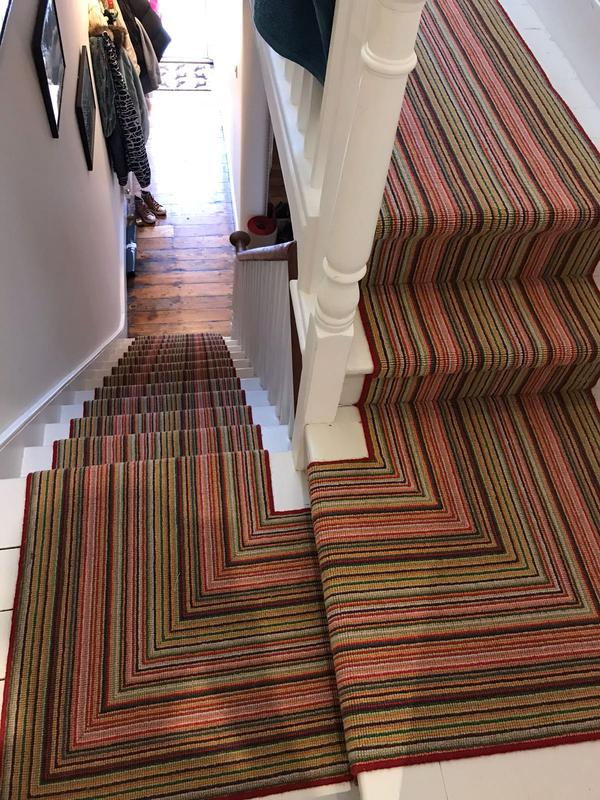 Image 55 - Our fitters are good in following the pattern and direction on landings when it comes to stripe carpet designs.