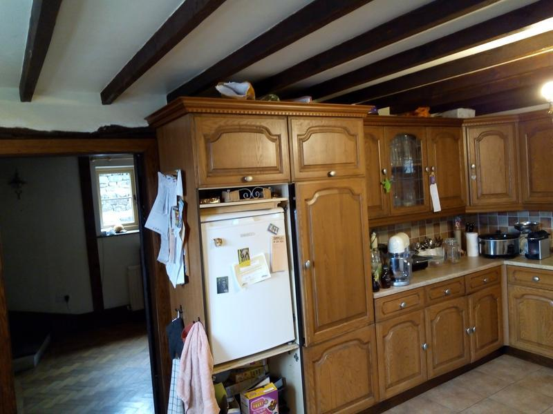 Image 14 - Kitchen refurb' in Little Hucklow - first phase kitchen removal, then enlargement involving steel beam placement & wall removal. Before...