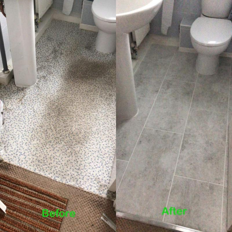 Image 13 - Before and after small bathroom ceramic floor tiling project.