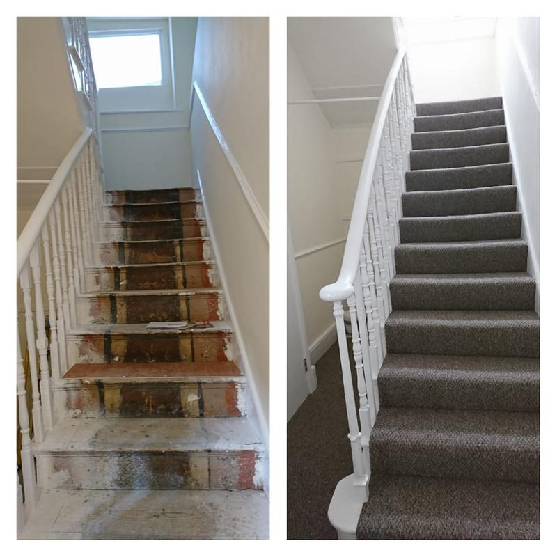 Image 83 - Carpets fitted to the staircase.