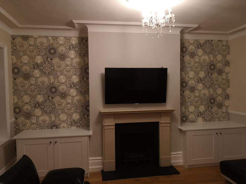 Image 40 - AFTER. Sides of fireplace wallpapered, the rest painted.
