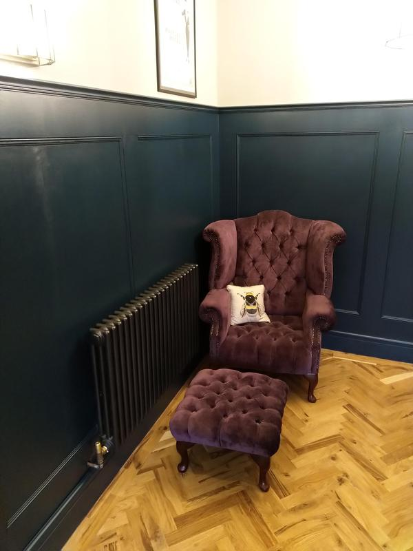 Image 17 - Study with wall panelling , parquet flooring and new radiator .