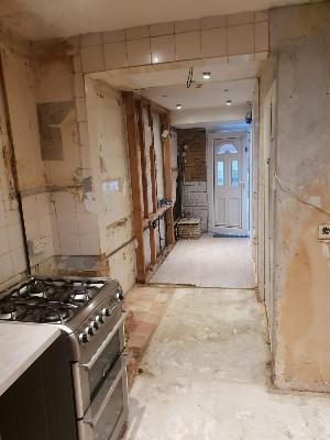 Image 11 - Kitchen refurbishment works which extended into the hallway, the dividing wall was taken out and rebuilt