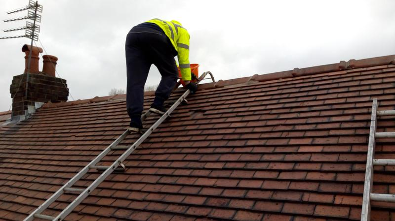 Image 24 - Once the scaffolding is in place,we can then access the ridge tiles using the Roofing cat ladder.