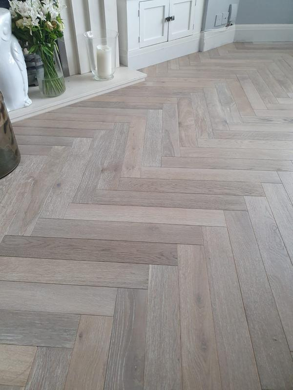 Image 15 - Smoked brushed white oiled parquet flooring