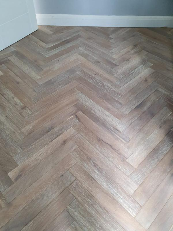 Image 13 - Smoked brushed white oiled parquet flooring