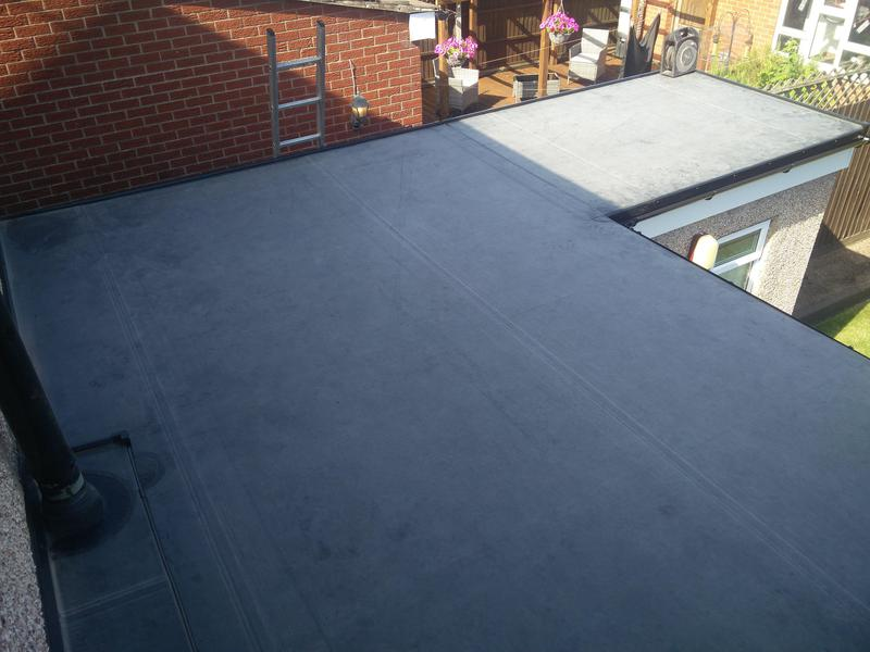 Image 92 - Kitchen Extension Rubber Roof Covering, completed July 2019, Stoke.
