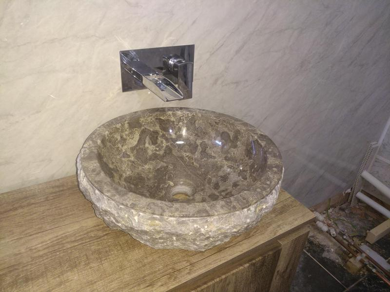 Image 3 - Recent basin installation wall mounted tap with solid Rock bowl sink