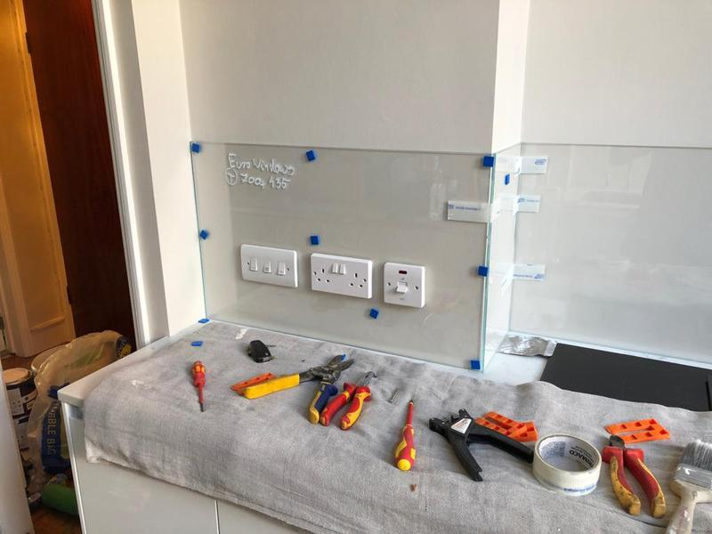 Image 16 - Installation of cut to measure clear splash back.