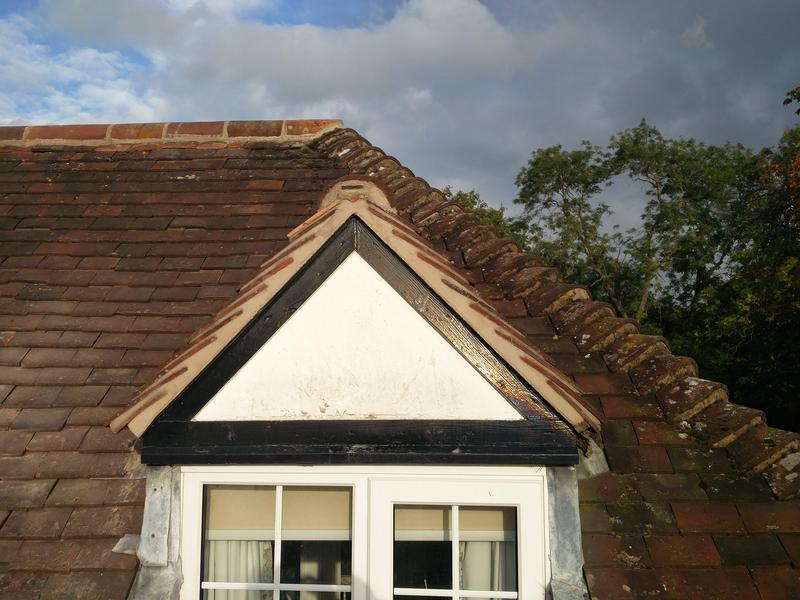 Image 49 - Verge/Ridge tiles on new mortar completed Oct 2019, Finham.