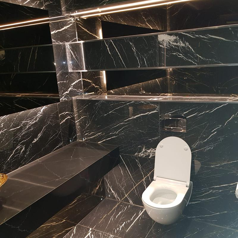 Image 6 - Black with white vein marble effect Porcelain tile. Guest wc. Ongar