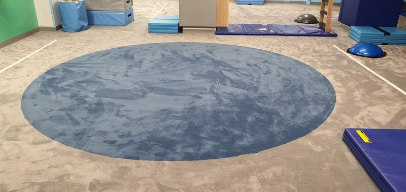 Image 12 - My Gym in Crouch End wanted to replace their carpet at the kids play area. The job required special skills for the circular die cut. Cloud 9 Underlay for better sound reduction impact was used. This picture is after.
