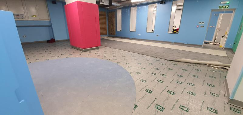 Image 13 - My Gym in Crouch End wanted to replace their carpet at the kids play area. The job required special skills for the circular die cut. Cloud 9 Underlay for better sound reduction impact was used. This picture is during the works.