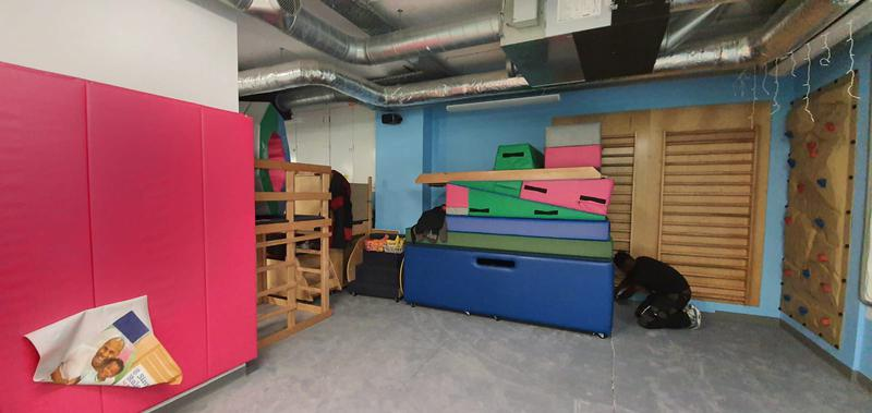 Image 15 - My Gym in Crouch End wanted to replace their carpet at the kids play area. The job required special skills for the circular die cut. Cloud 9 Underlay for better sound reduction impact was used. This picture is during the works.