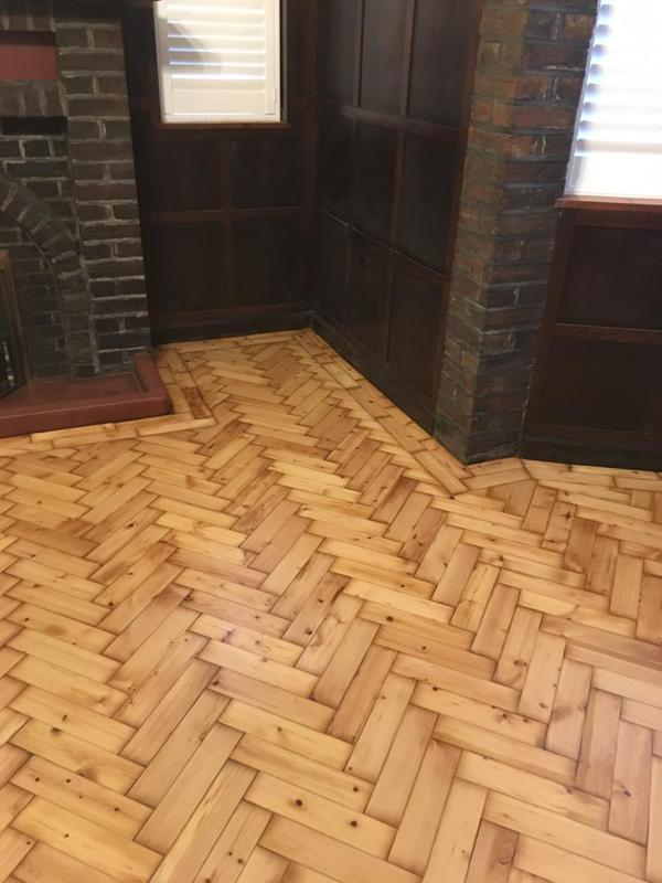 Image 1 - Restoration of pine Parquet on completion.