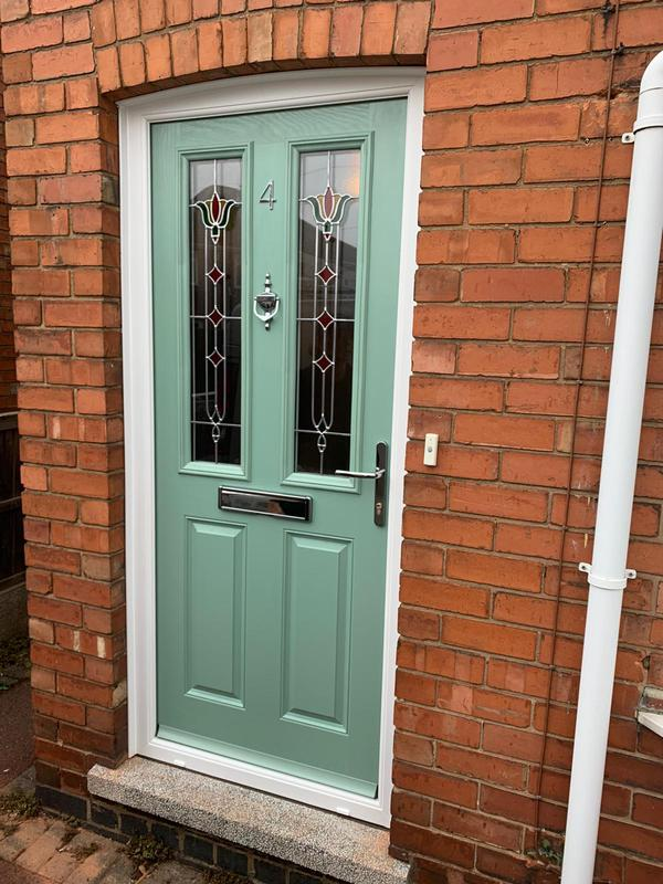 Image 4 - Chartwell green 'Beeston ' composite door with 'Fleur' glass. Fitted in August 2020.